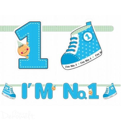 "Girlande ""I´m No 1"" Blau 1,10m"