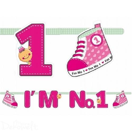"""Girlande """"I´m No 1"""" Rosa 1,10m"""