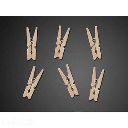 20 Holz Dekoklammern 3cm Natur