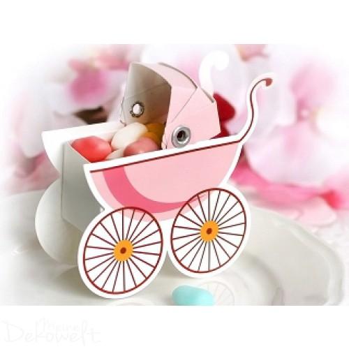 10x Geschenkbox Kinderwagen Rosa Gastgeschenk Geburt