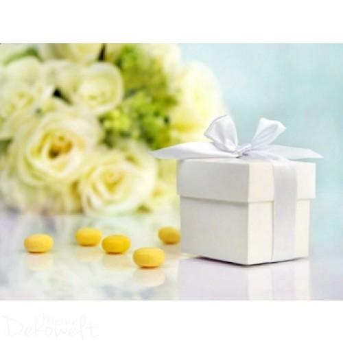 10x Geschenkbox Weiß mit Schleife
