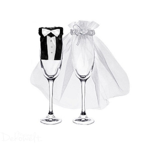 Glasverkleidung Hochzeit Schleier + Anzug für Sekt- u. Champagnergläser