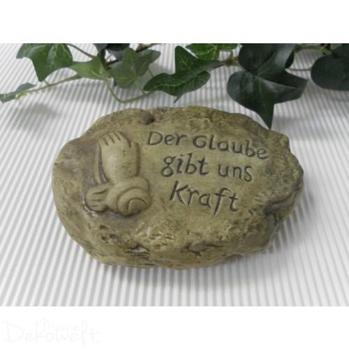 """Grabschmuck Stein """"Der Glaube gibt uns Kraft"""" 11cm x 8,5cm x 3cm Keramik moosgrün"""