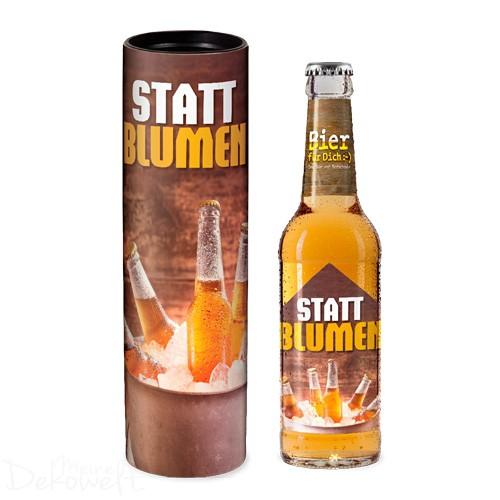 "Bier ""Statt Blumen"" in Geschenkdose"