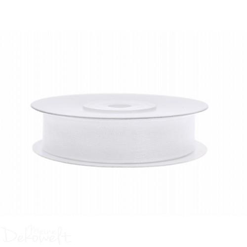 25m x 12mm Chiffonband Weiß