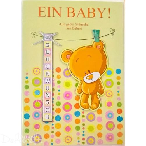 """Exklusive Maxi Karte """"Ein Baby"""" DIN A4 mit Glitzer und Applikationen"""