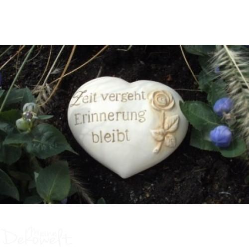 """Grabschmuck Stein """"Zeit vergeht Erinnerung bleibt"""" 18cm x 14cm x 6cm Keramik 3D Motiv"""