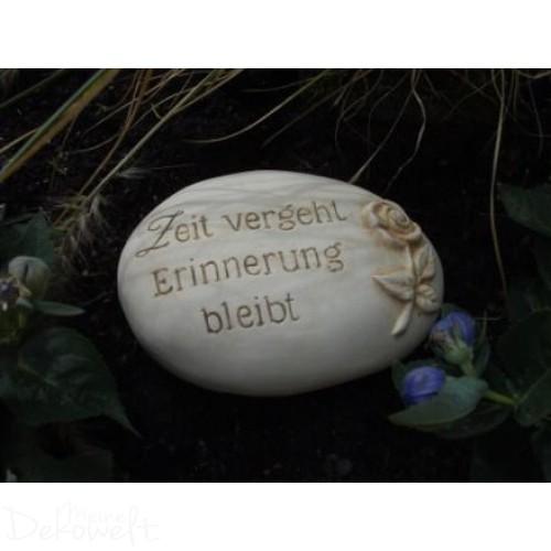 """Grabschmuck Stein """"Zeit vergeht Erinnerung bleibt"""" 18cm x 13cm x 6cm Keramik 3D Motiv"""