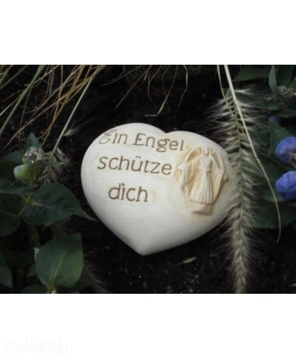 """Grabschmuck Stein """"Ein Engel schütze dich"""" 11cm x 10cm x 4cm Keramik 3D Motiv"""