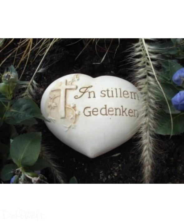 """Grabschmuck Stein """"In stillem Gedenken"""" 11cm x 10cm x 4cm Keramik 3D Motiv"""