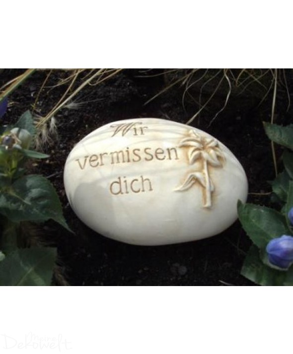 """Grabschmuck Stein """"Wir vermissen dich"""" 18cm x 13cm x 6cm Keramik 3D Motiv"""